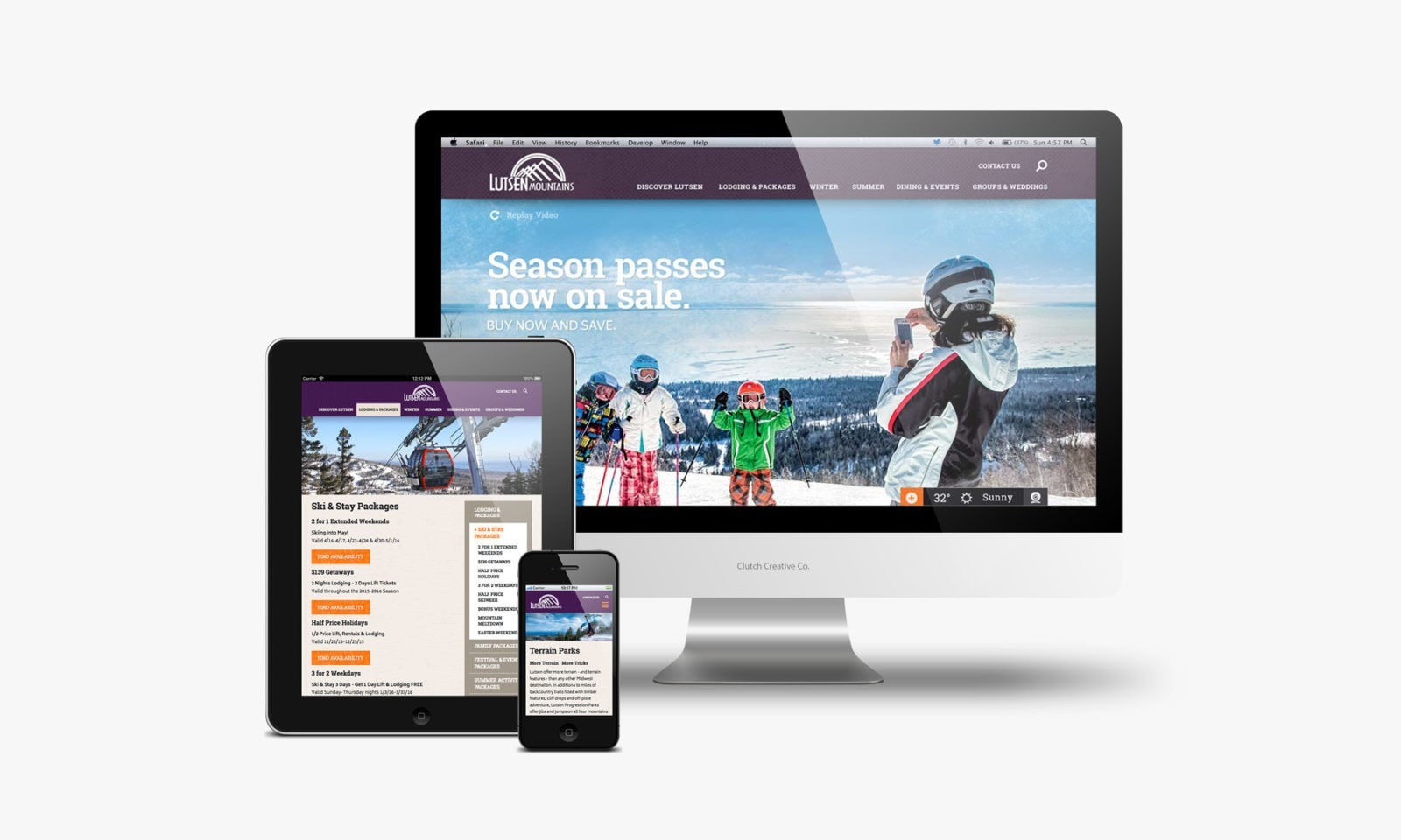 Ski resort website design example responsive website design. Clutch Creative Co. Burlington, VT resort website design.