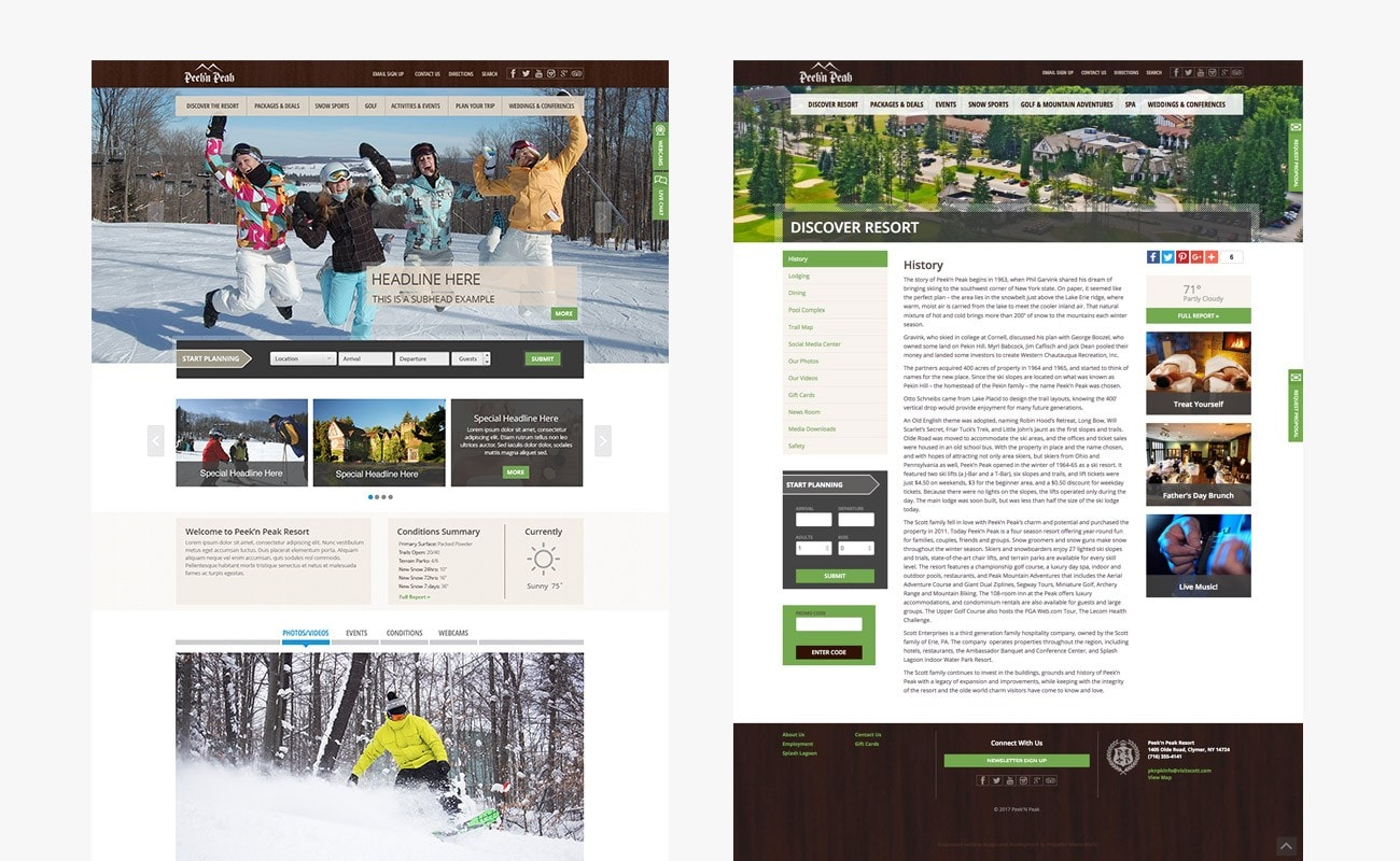 Responsive ski resort website design by Clutch Creative Company Burlington, VT website design