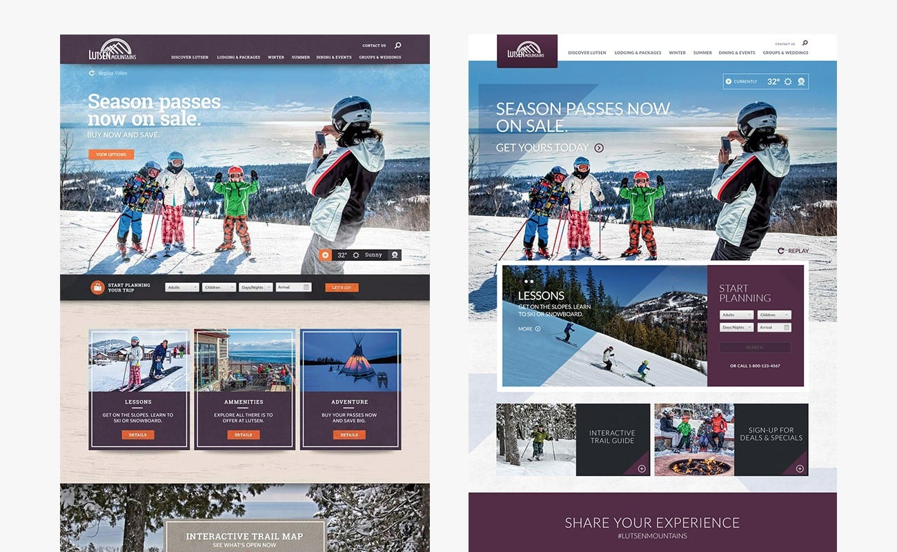 Resort website design for Lutsen Mountains by Clutch Creative Company Burlington, Vermont website design