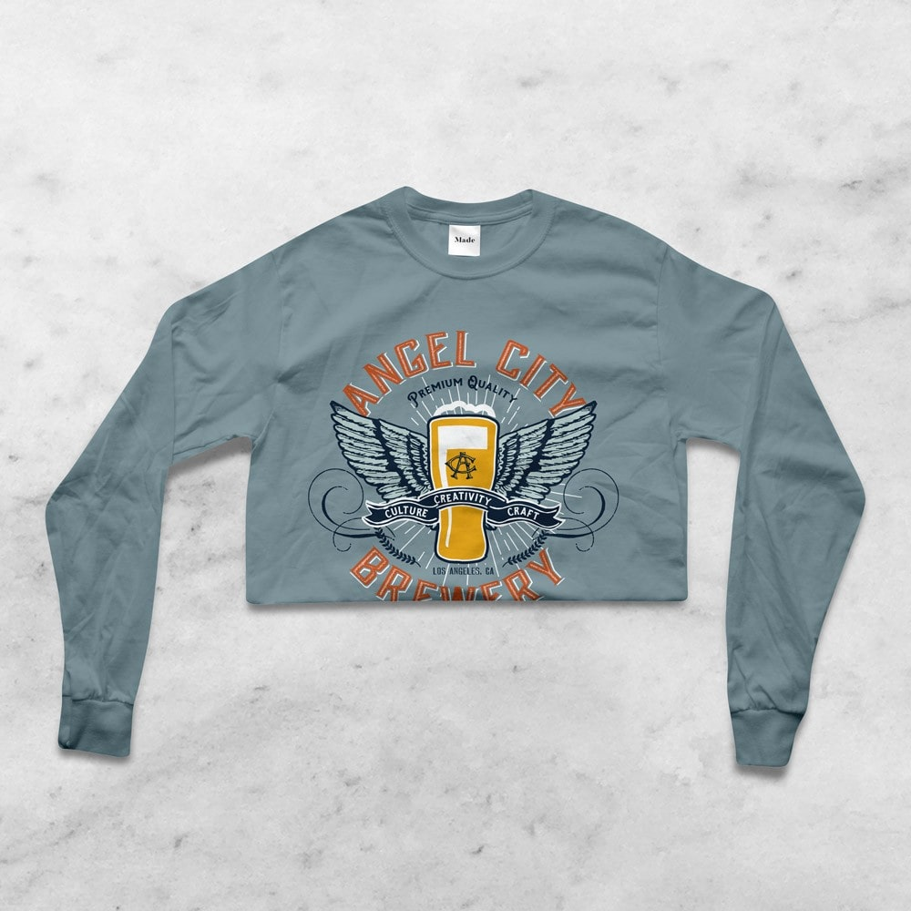 Angel City Brewery Los Angeles Apparel design. Graphic design by Clutch Creative Co. Burlington, VT