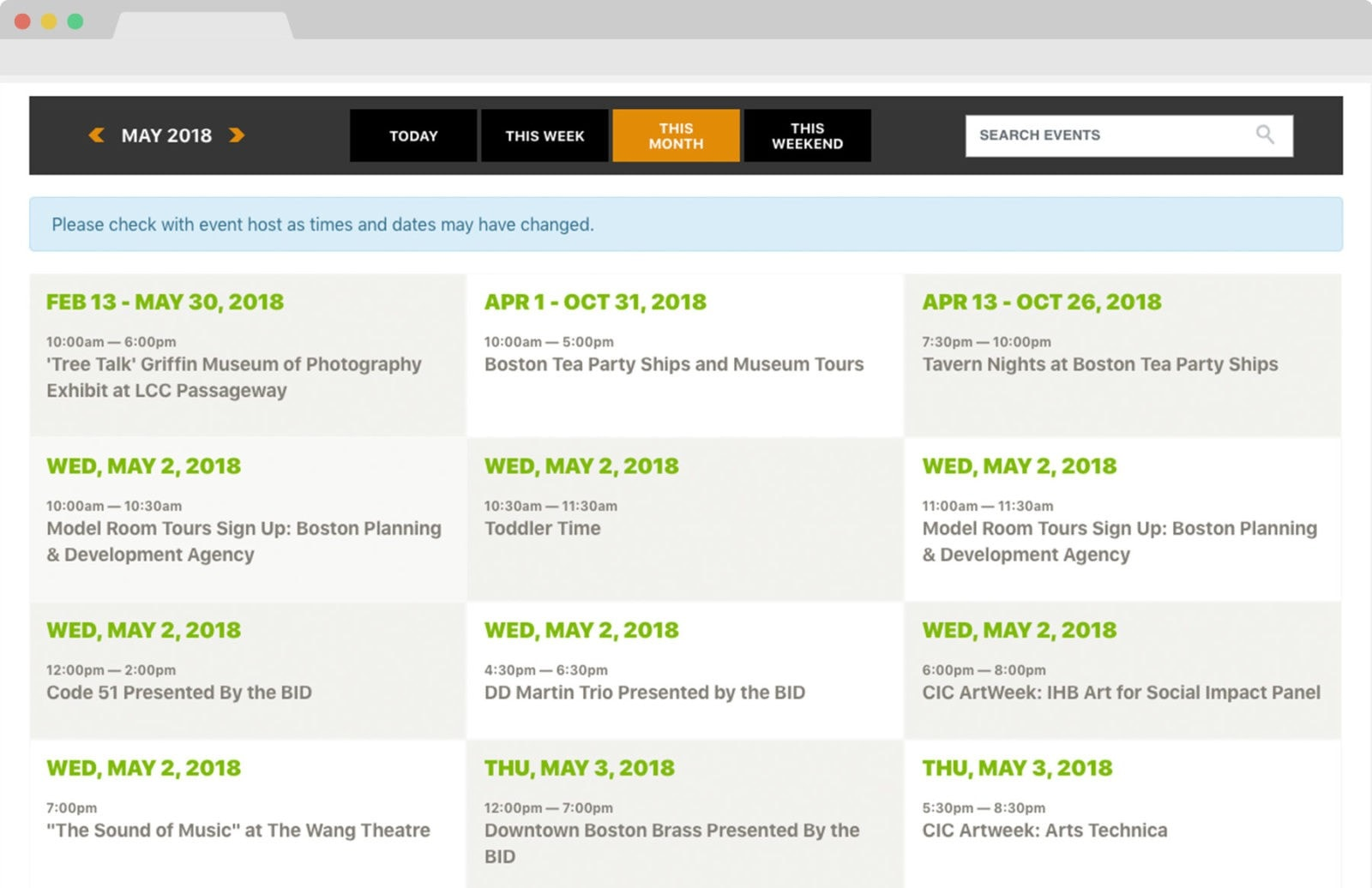 Boston BID responsive website design event calendar. Clutch Creative Co. Burlington, VT