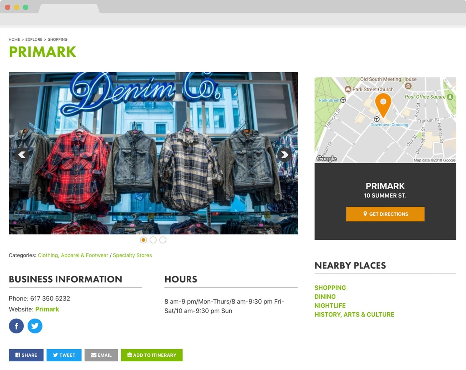 Boston BID responsive website design location mapping