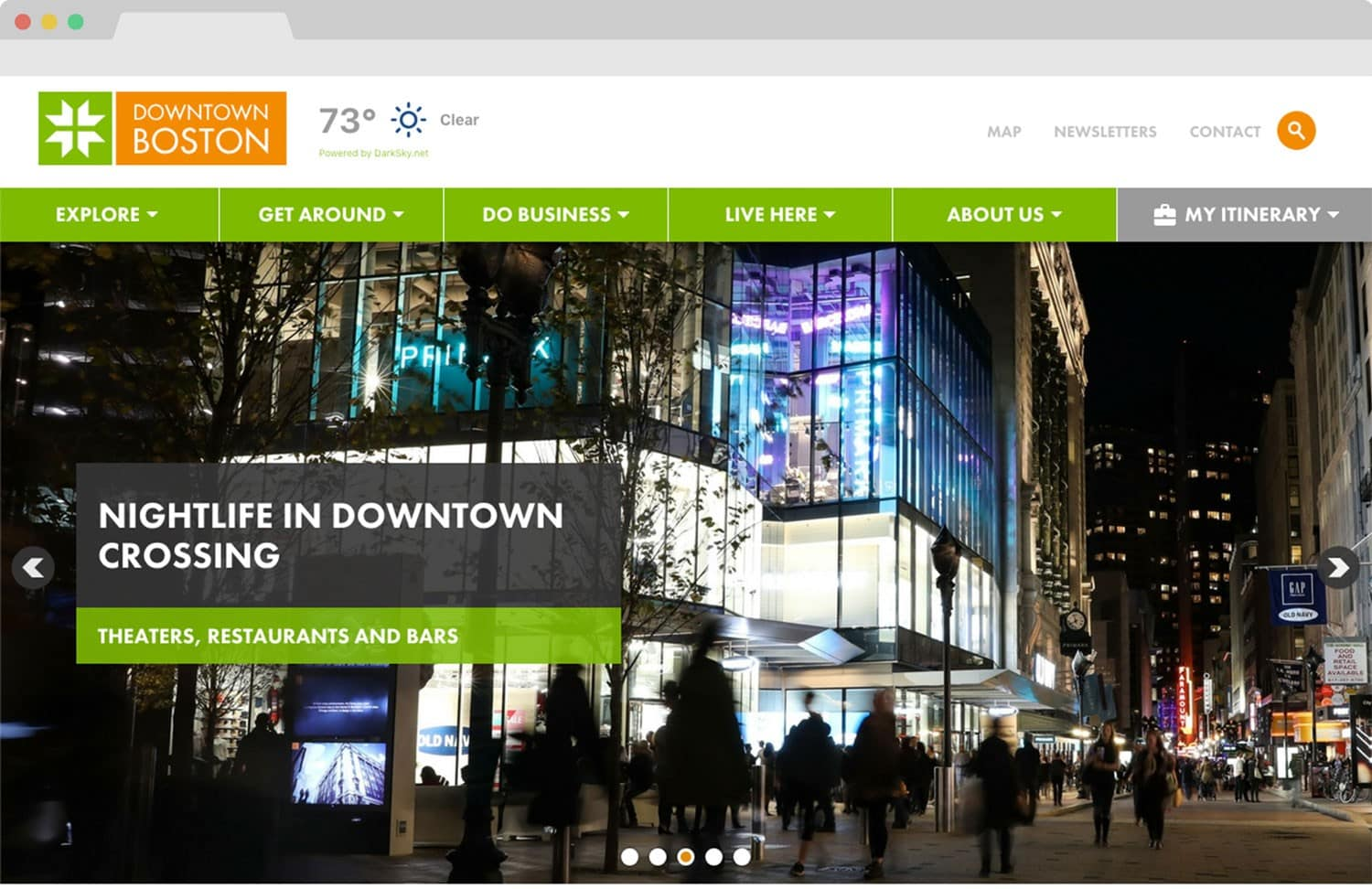 Website design - Homepage for Boston BID