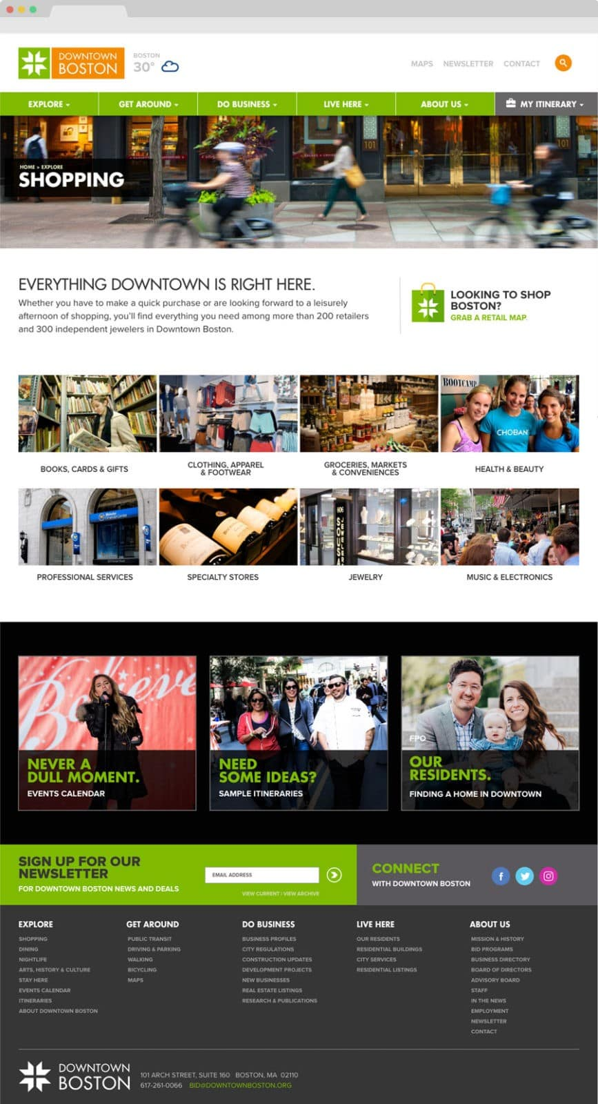 Boston BID UX Design design. Clutch Creative co. Burlington, VT website design.