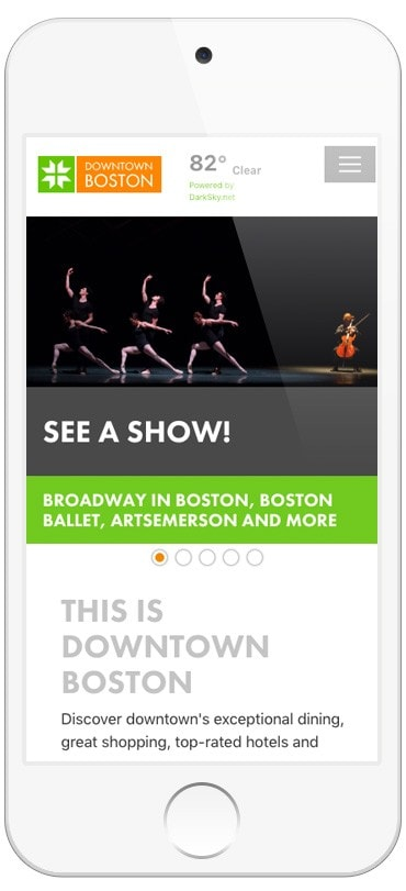 Boston BID responsive website design - Clutch Creative Co. Burlington, Vermont