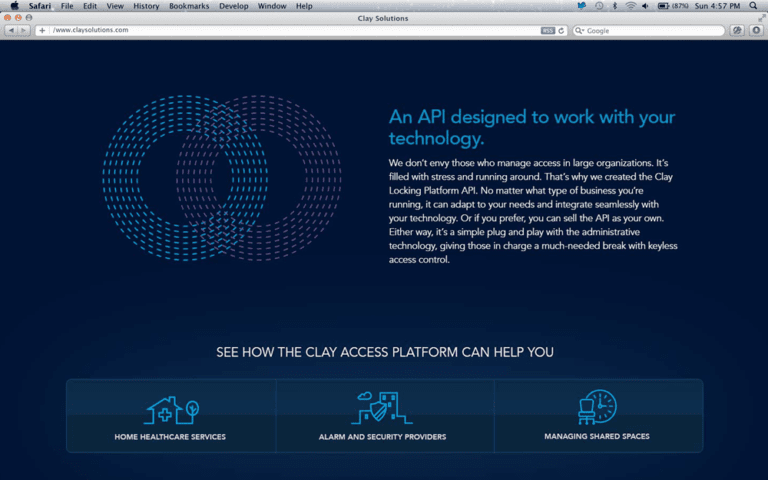 Clay API identity design and online content strategy and interface design. Clutch Creative Co. Burlington, VT