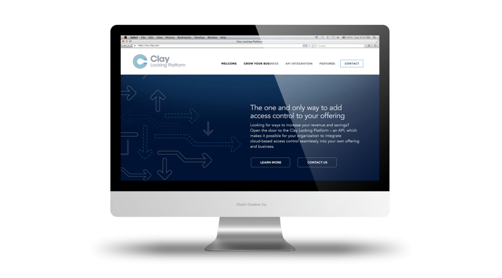 Clay API landing page design. Clutch Creative Co. Vermont website design company.