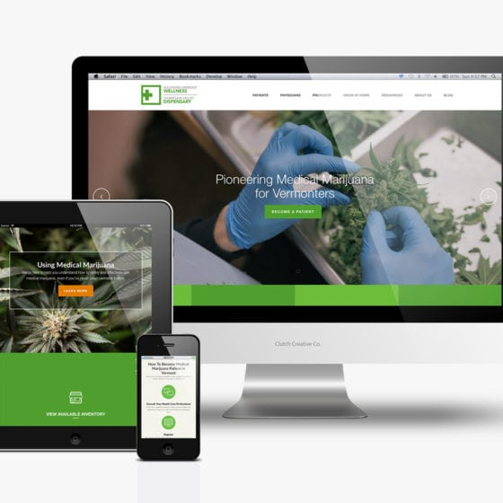 Dispensary website planning and design by Clutch Creative Company Burlington, VT