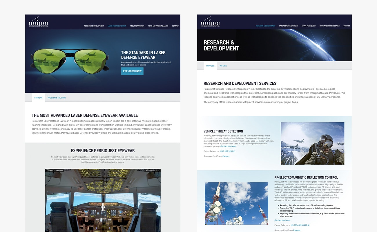 Website design in Vermont by Clutch Creative Company for Perriquest Defense Research Enterprises