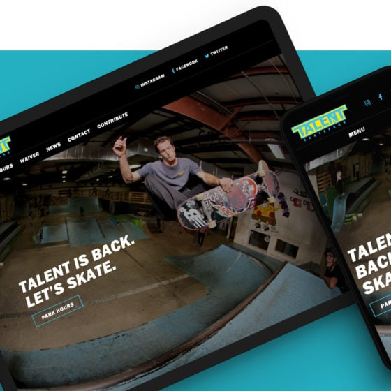Talent skatepark web design