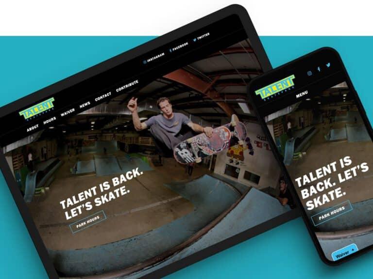 Talent skatepark web design